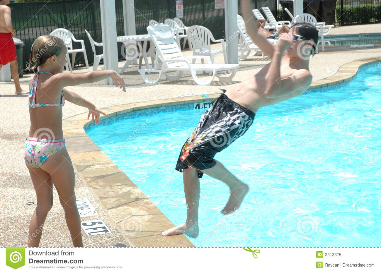 Woman pushed in pool